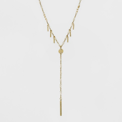 Beaded Y Necklace - Universal Thread™ Gold - image 1 of 3