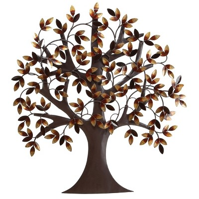 "31"" x 32"" Autumn Leaves Traditional Metal Wall Art Tree Brown/Gold - Olivia & May"