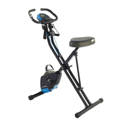 EXERPEUTIC Bluetooth Folding Upright Bike with Adjustable Resistance Bands - Black/Blue