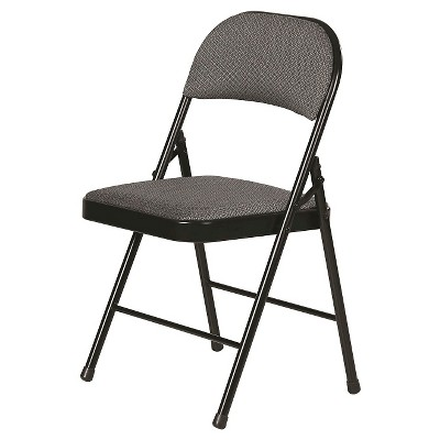 4pk Fabric Padded Folding Chairs Gray - Plastic Dev Group