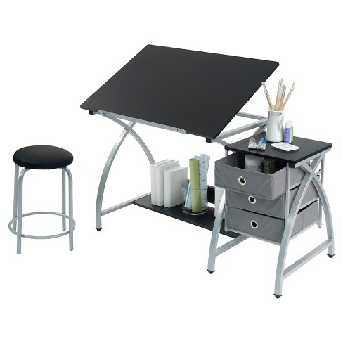 Comet Craft Table with Stool - Silver/Black - image 1 of 1