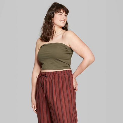 Women\'s Plus Size Tube Top - Wild Fable™ Olive : Target
