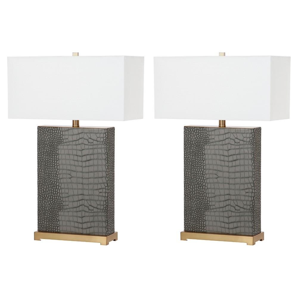 Image of Joyce Gray Ceramic Faux Alligator Table Lamp Set of 2 - Safavieh