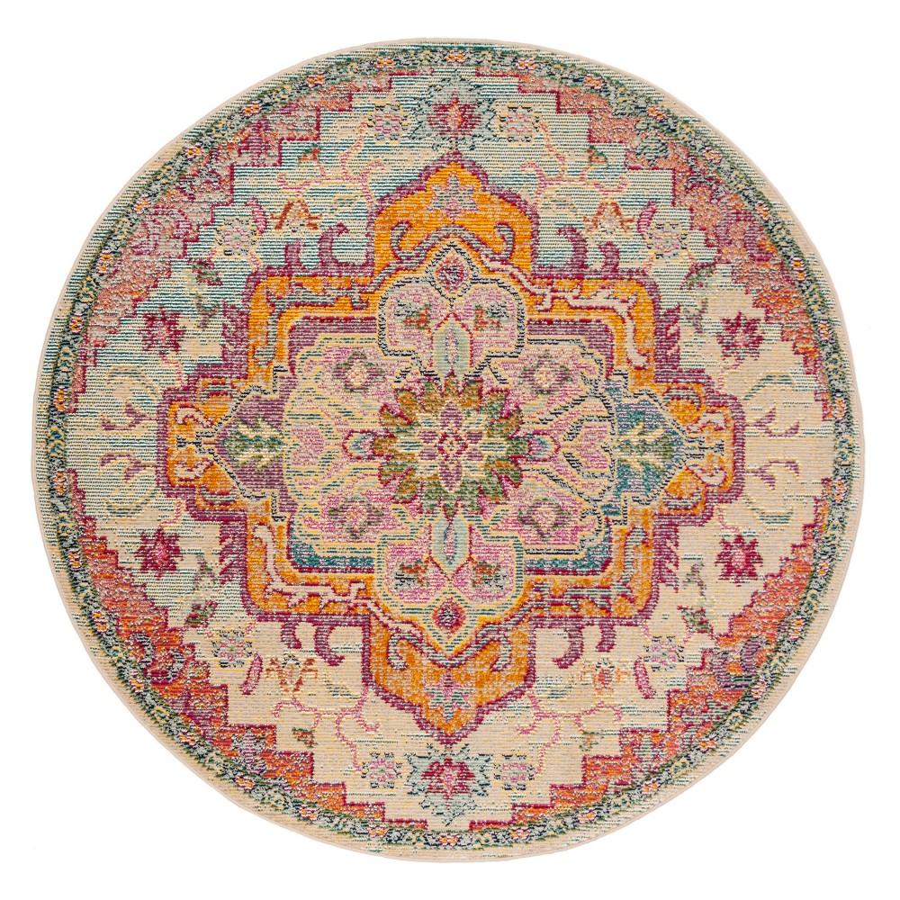 7'x7' Floral Loomed Round Area Rug Light Blue/Fuchsia (Light Blue/Pink) - Safavieh