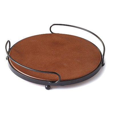 Lakeside Round Wooden Serving Tray with Metal Handles - Rustic Kitchen Accent