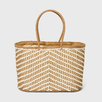 Straw Circle Handle Tote Handbag - A New Day™ Natural