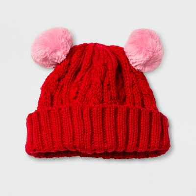 Baby Boys' Cable Beanie with Poms - Cat & Jack™ Red 0- 6 M