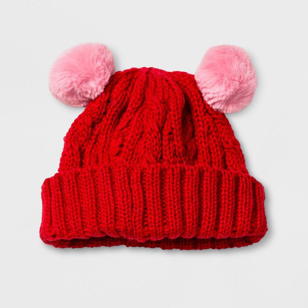 Baby Boys' Cable Beanie with Poms - Cat & Jack Red 0- 6 M, Size: 0-6M