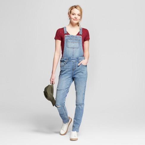 15a02f031b2 Women s Slit Knee Skinny Jean Overalls - Mossimo Supply Co™ Medium Wash