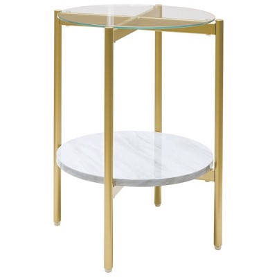 Glass Top Metal End Table with Marble Shelf White/Gold - Benzara