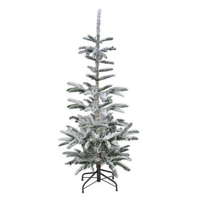 Northlight 6.5' Green Slim Flocked Noble Fir Artificial Christmas Tree - Unlit