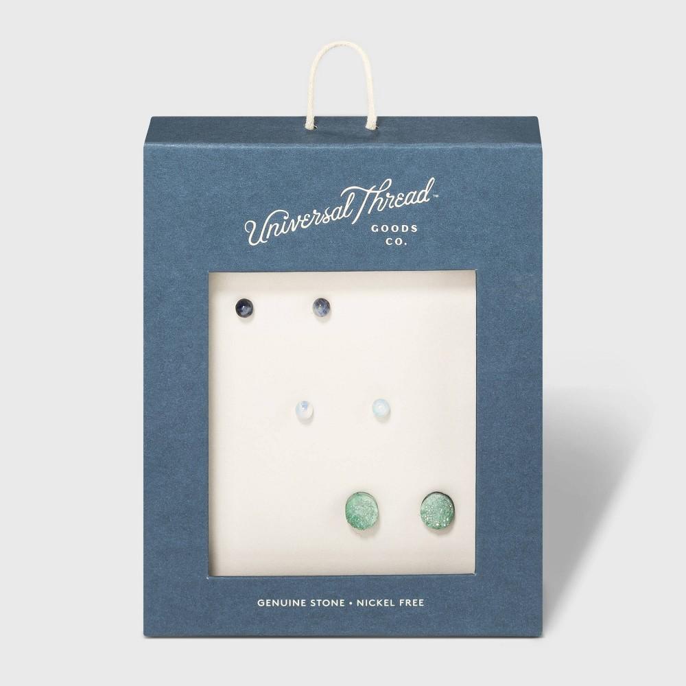 Trio Drusy Earrings - Universal Thread Green/Gold