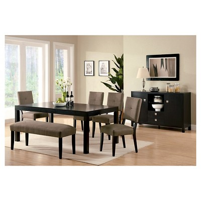 Genial MiBasics Fabric Padded Dining Bench Wood/Espresso : Target