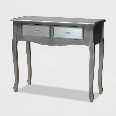 Leonie Wood and Mirrored Glass 2 Drawer Console Table Silver - Baxton Studio