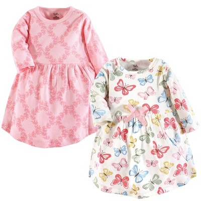 Touched by Nature Baby and Toddler Girl Organic Cotton Long-Sleeve Dresses 2pk, Butterflies