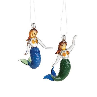 Gallerie II Mini Art Glass Mermaid Christmas Xmas Ornament A/2