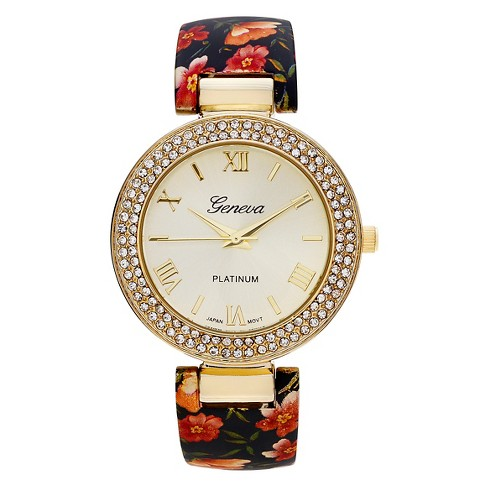 Women's Geneva Platinum Accent Rhinestone Floral Print Cuff Watch - image 1 of 3