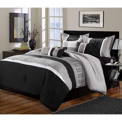 King 8pc Euphrasia Comforter Set Black - Chic Home Design