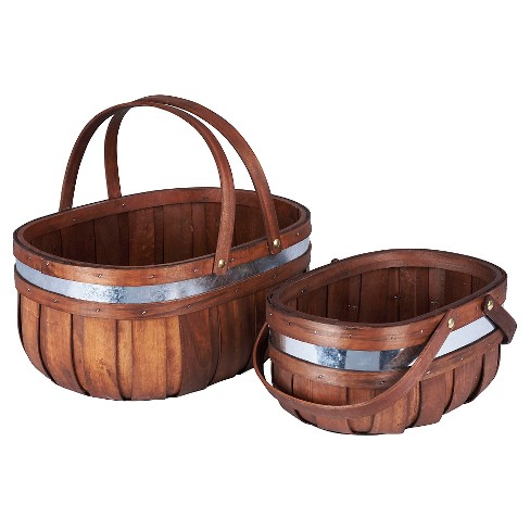 Household Essentials - 2 pc Set Decorative Cedar Market Basket - Brown - image 1 of 3