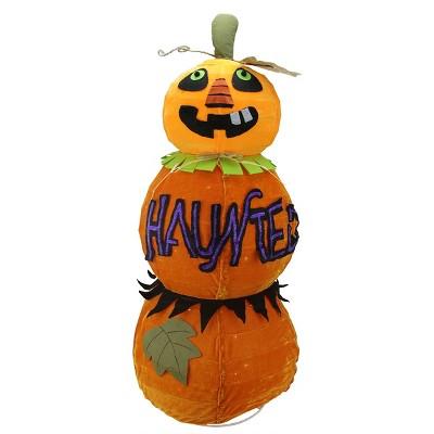 "Northlight 38"" Prelit Standing ""HAUNTED"" Jack-o-Lantern Pumpkin Halloween Decoration - Orange/Purple"