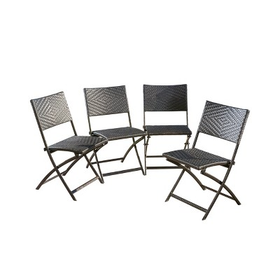 El Paso Set of 4 Wicker Patio Folding Chairs - Brown - Christopher Knight Home