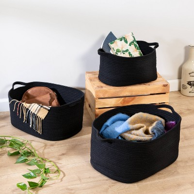 Honey-Can-Do 3pc Cotton Coil Baskets Black