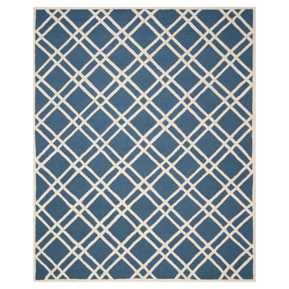 Frey Textured Wool Rug - Navy Blue / Ivory (9' X 12') - Safavieh, Blue/Ivory