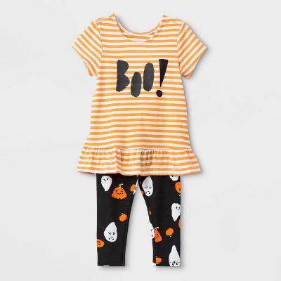 "Baby Girls' Halloween ""Boo!"" Short Sleeve Top and Bottom Set - Cat & Jack™ 0-3M"