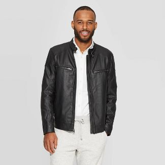 Men's Midweight Faux Leather Moto Jacket - Goodfellow & Co™ Black L
