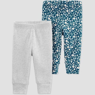 Baby Girls' 2pk Floral Pull-On Pants - Just One You® made by carter's Gray/Blue 3M