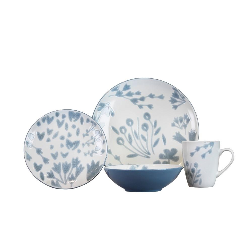 Image of 16pc Stoneware Marisol Dinnerware Set White/Blue - Baum Bros.