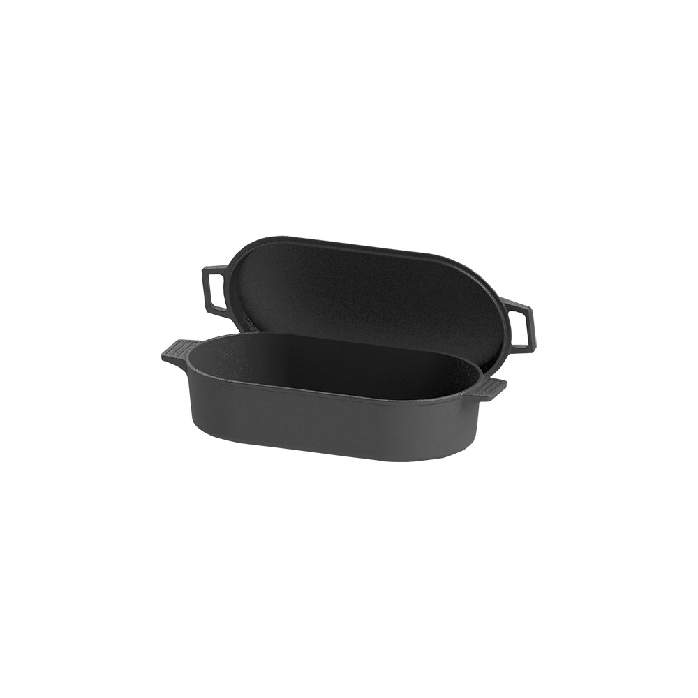 Bayou Classic Cast Iron 6qt Oval Fryer with Griddle Lid, Black 53021734