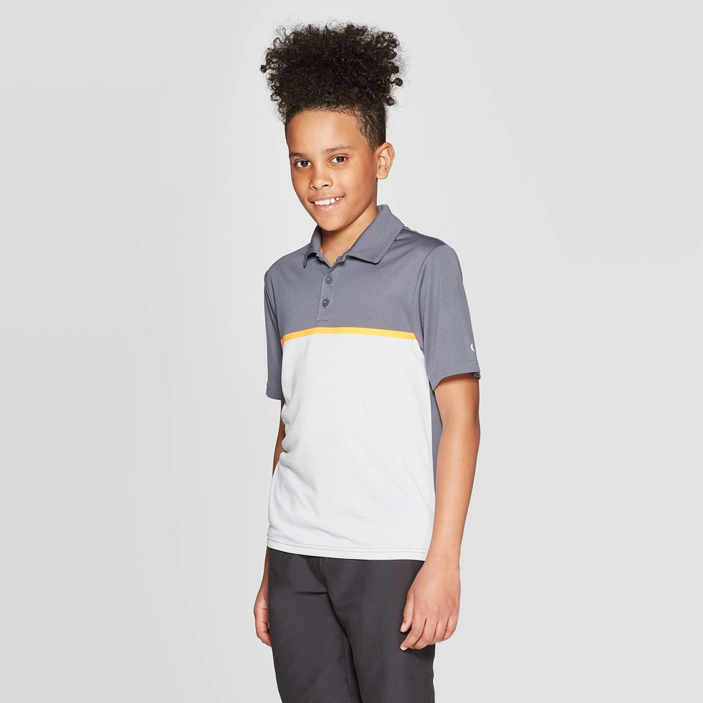 Image of Boys' Chest Stripe Golf Polo Shirt - C9 Champion Gray L, Boy's, Size: Large