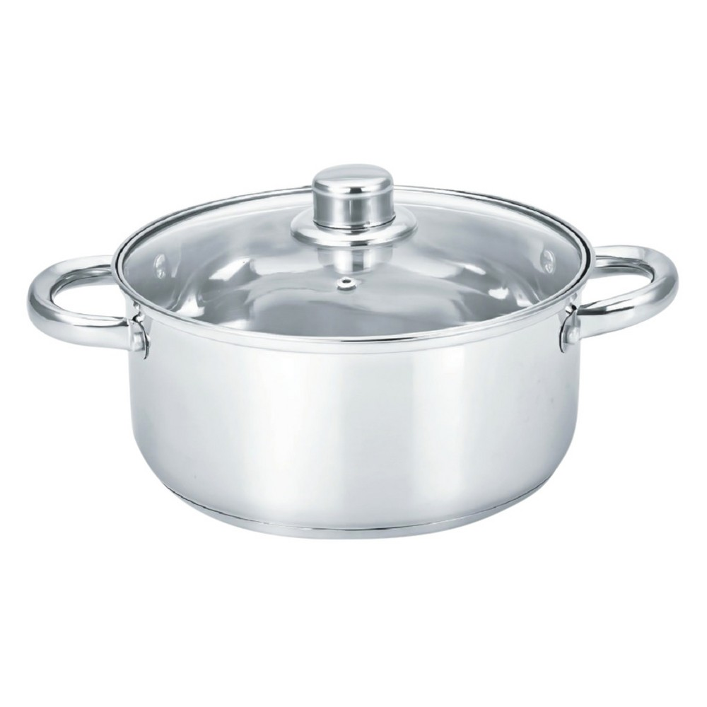 "Image of ""Gourmet Chef 12"""" Stainless Steel Stock Pot with Glass Lid, Silver"""