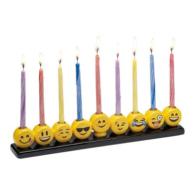 "Rite Lite 10.75"" Hanukkah Emoji Hand Painted Ceramic Menorah - Yellow/Black"
