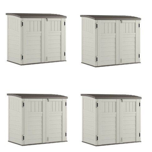 Suncast 34 Cubic Feet Horizontal Backyard Storage Stow Away Shed, Ivory (4 Pack) - image 1 of 4
