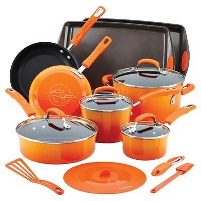 Rachael Ray® Hard Enamel Nonstick 16-pc. Cookware Set, Orange Gradient