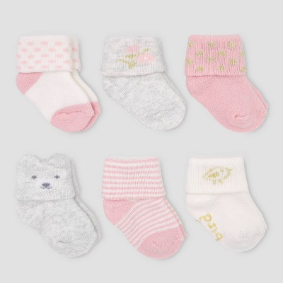 Baby Girls' 6pk Folded Cuff Bear & Terry Socks - Just One You® made by carter's 0-3M