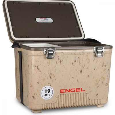 Engel UC19C1 19 Quart Fishing Live Bait Dry Box Ice Cooler with Stain/Odor-Resistant Surface and Shoulder Strap, Grassland