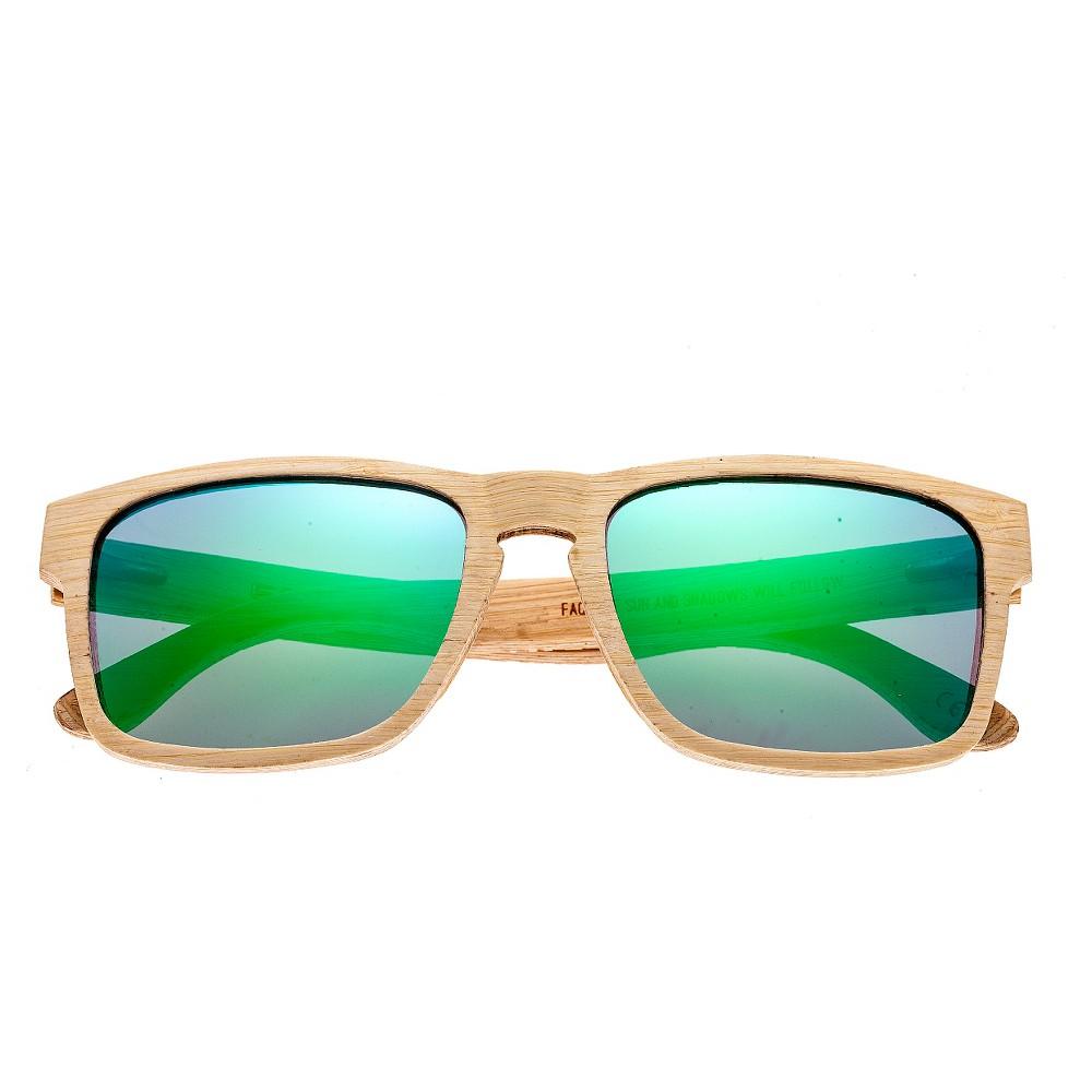 Earth Wood Whitehaven Polarized Sunglasses - Bamboo & Black/Green, Adult Unisex, Tan