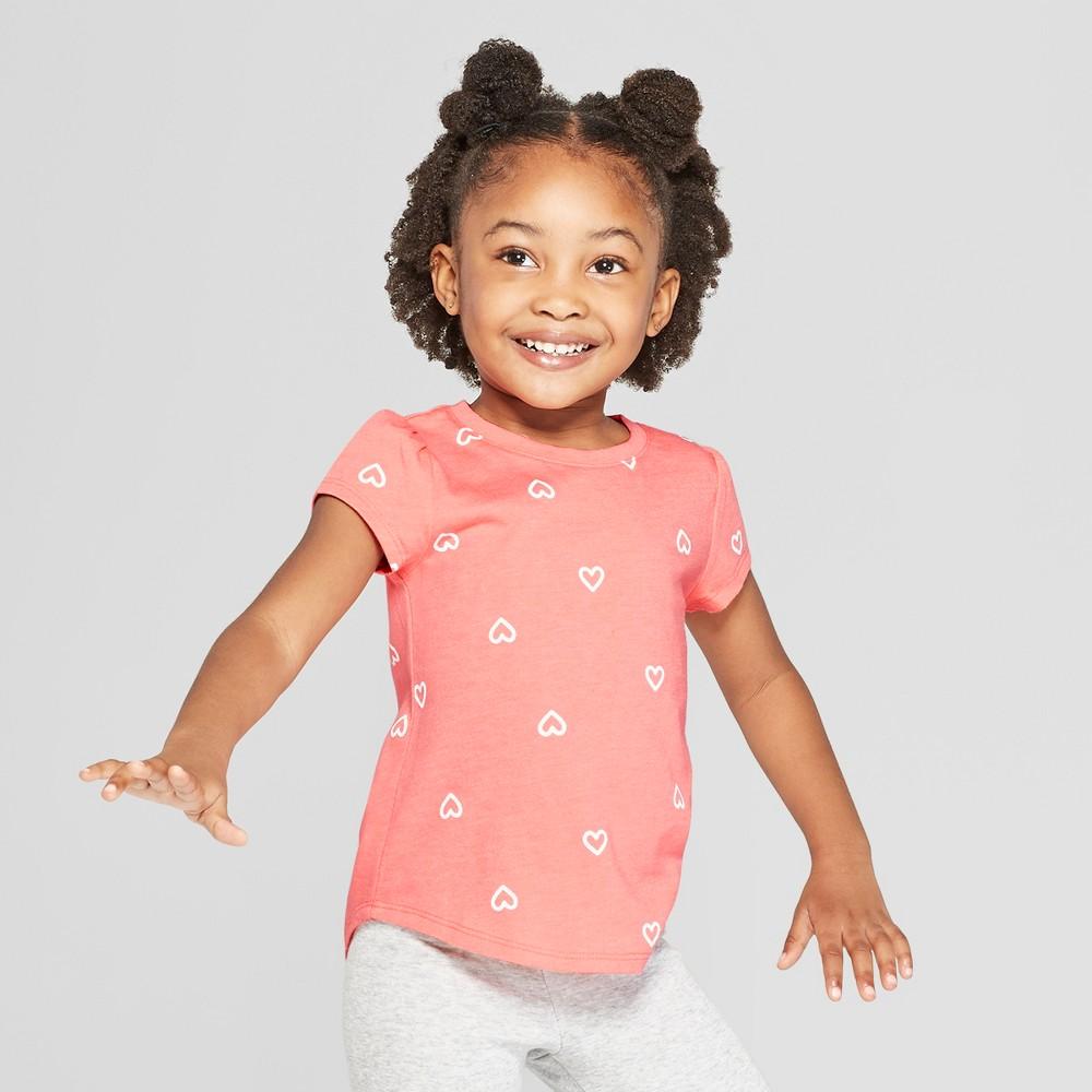 Toddler Girls' Short Sleeve Heart Print T-Shirt - Cat & Jack Pink 3T