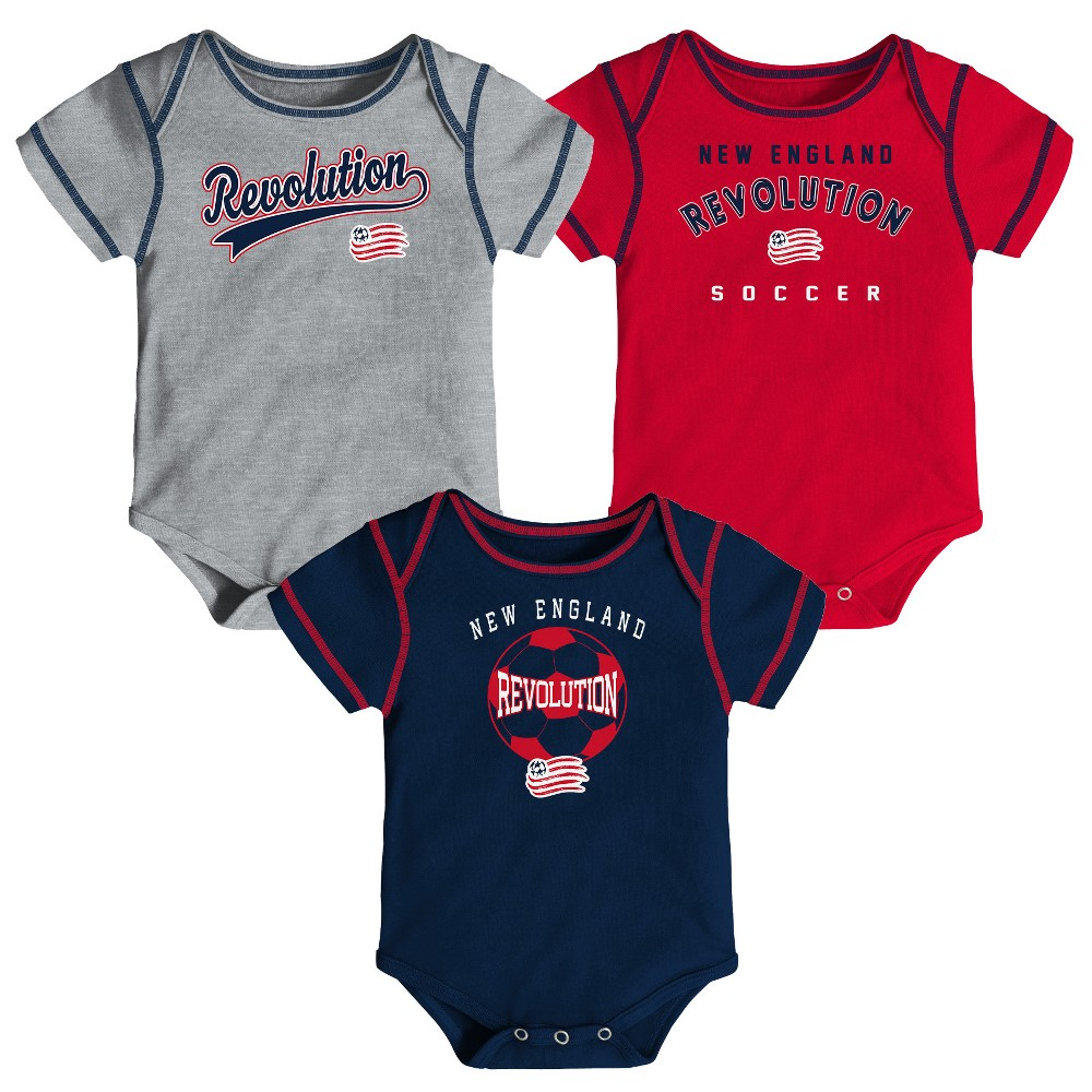 Mls Baby 3pk Onesies New England Revolution - 6-9M, Infant Boy's, Multicolored