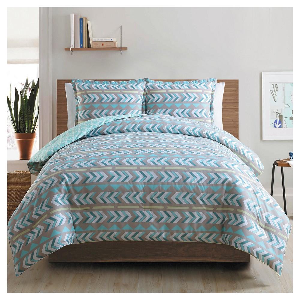 Aqua (Blue) Tribal Comforter Set Queen 3pc - Clairebella