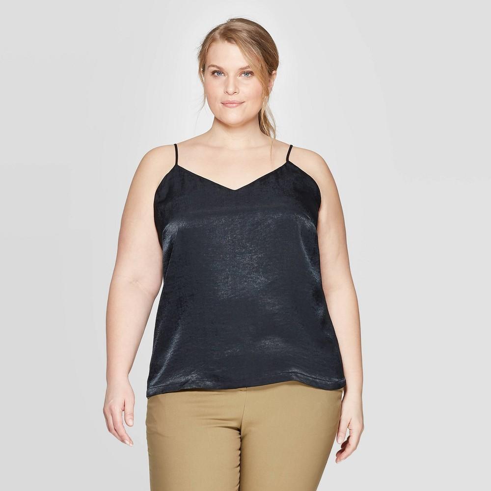 Women 39 S Plus Size V Neck Woven Cami Prologue 8482 Black X