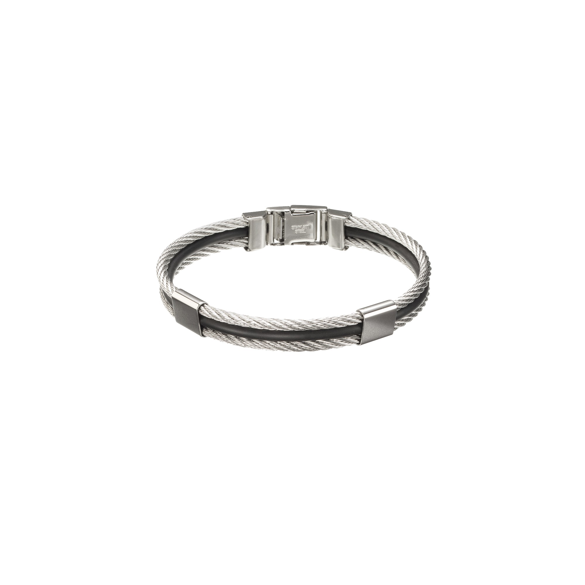 Men's Stainless Steel and Rubber Bangle Bracelet, Size: Small, Silver/Silver