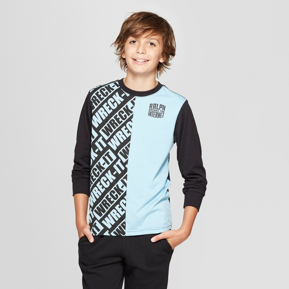 Boys' Wreck-It Ralph Split Long Sleeve T-Shirt - Blue/Black M