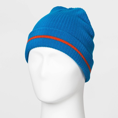 Men's Striped Beanie - Original Use™ Blue One Size - image 1 of 1
