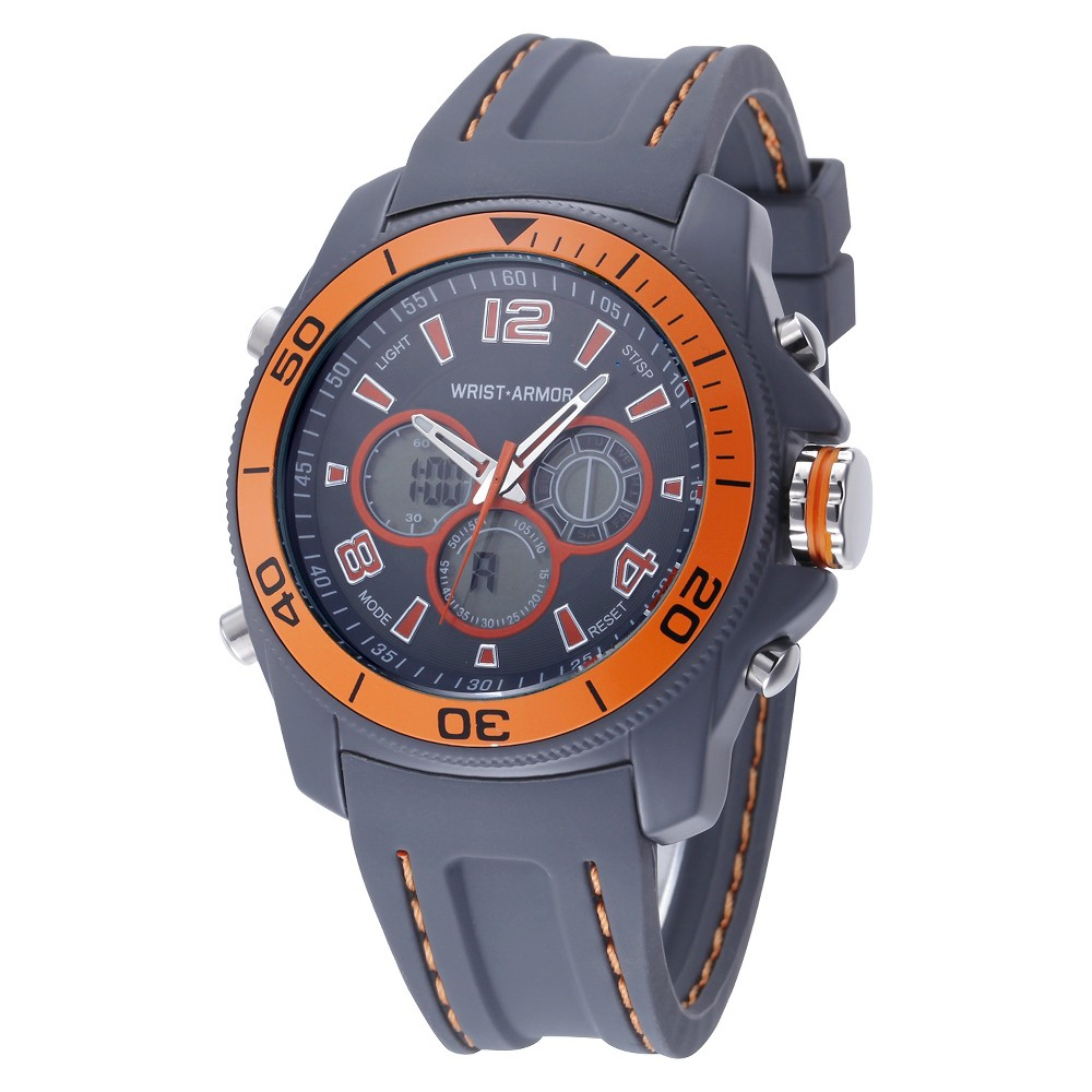 Men's Wrist Armor C29 Multifunction Watch, Gray And Orange Dial, Gray Rubber Strap