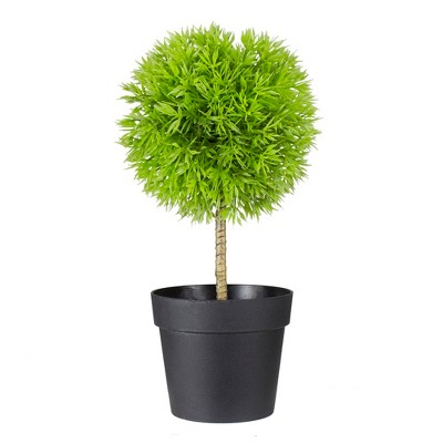 """Northlight 9.75"""" Potted Two-Tone Green Grass Ball Topiary Artificial Christmas Tree- Unlit"""