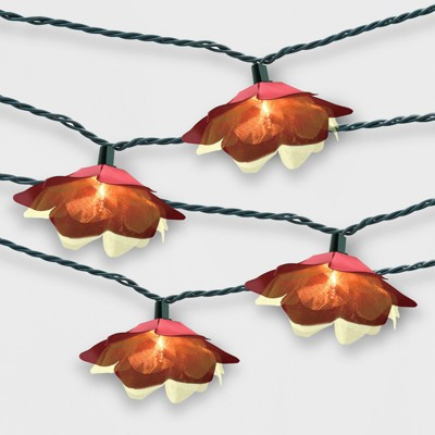 10ct Flower Outdoor String Lights Red - Opalhouse™